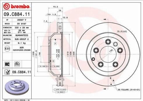 Brembo 09.C884.11 - Bremžu diski interparts.lv