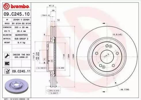 Brembo 09.C245.11 - Bremžu diski interparts.lv