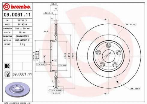 Brembo 09.D061.11 - Bremžu diski interparts.lv
