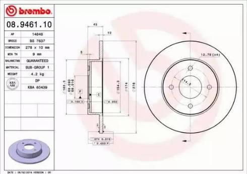 Brembo 08.9461.10 - Bremžu diski interparts.lv