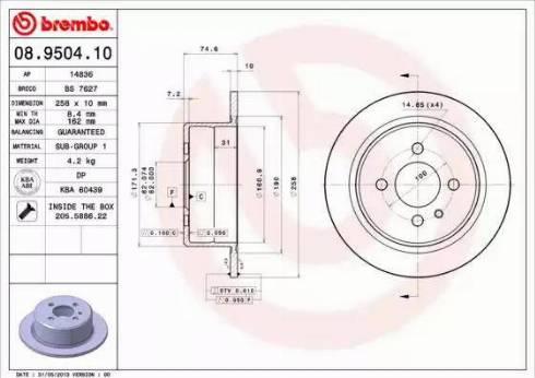 Brembo 08.9504.10 - Bremžu diski interparts.lv