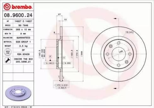 Brembo 08.9600.24 - Bremžu diski interparts.lv