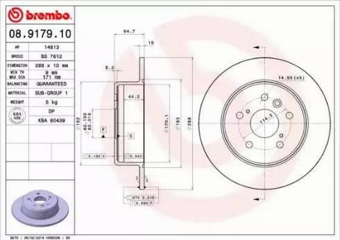 Brembo 08.9179.10 - Bremžu diski interparts.lv