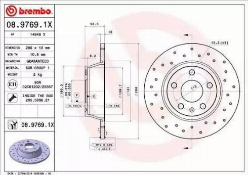 Brembo 08.9769.1X - Bremžu diski interparts.lv