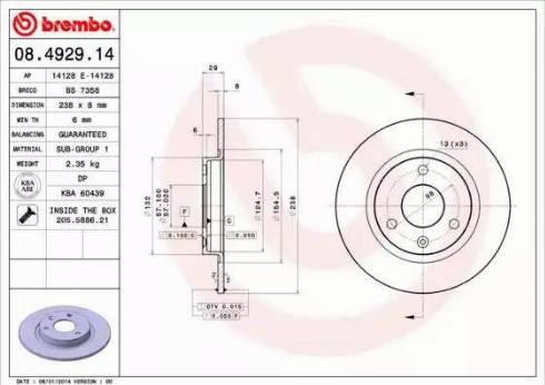 Brembo 08.4929.14 - Bremžu diski interparts.lv