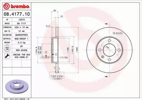 Brembo 08.4177.10 - Bremžu diski interparts.lv