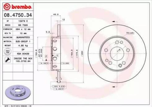 Brembo 08.4750.34 - Bremžu diski interparts.lv