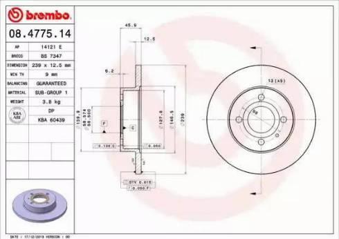 Brembo 08.4775.14 - Bremžu diski interparts.lv