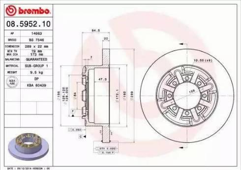 Brembo 08.5952.10 - Bremžu diski interparts.lv