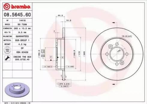 Brembo 08.5645.60 - Bremžu diski interparts.lv