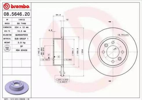 Brembo 08.5646.20 - Bremžu diski interparts.lv