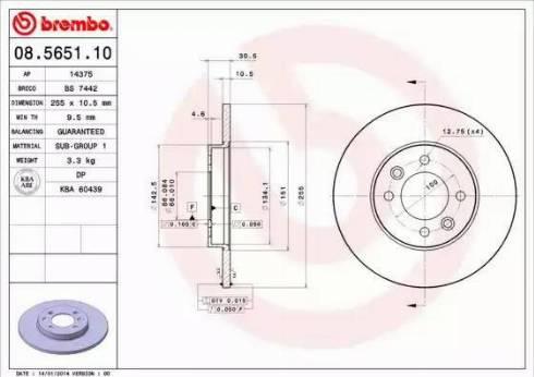 Brembo 08.5651.10 - Bremžu diski interparts.lv