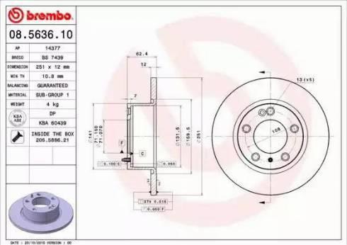 Brembo 08.5636.10 - Bremžu diski interparts.lv