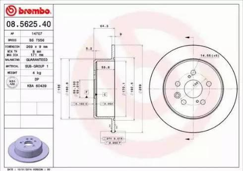 Brembo 08.5625.40 - Bremžu diski interparts.lv