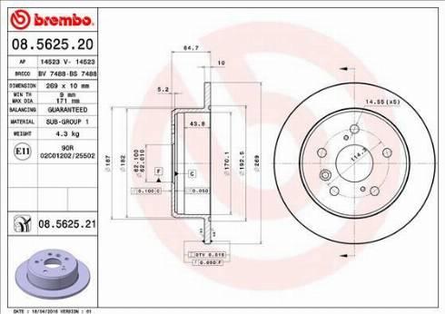 Brembo 08.5625.21 - Bremžu diski interparts.lv