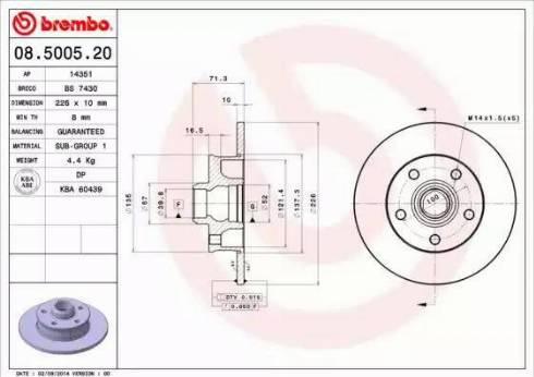 Brembo 08.5005.20 - Bremžu diski interparts.lv