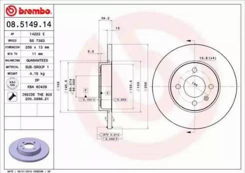 Brembo 08.5149.14 - Bremžu diski interparts.lv