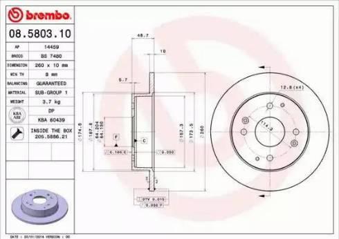 Brembo 08.5803.10 - Bremžu diski interparts.lv