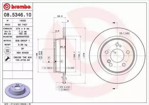 Brembo 08.5346.10 - Bremžu diski interparts.lv