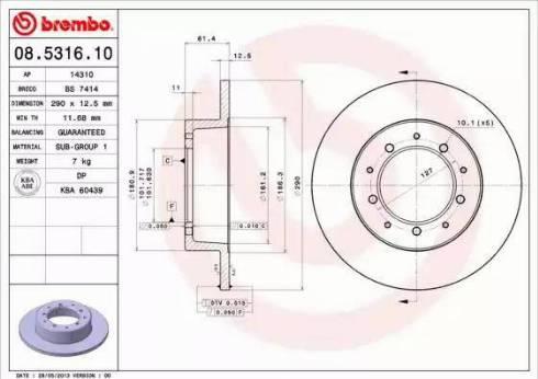 Brembo 08.5316.10 - Bremžu diski interparts.lv