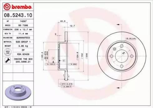 Brembo 08.5243.10 - Bremžu diski interparts.lv