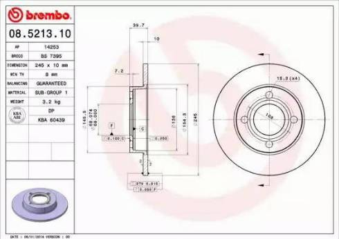 Brembo 08.5213.10 - Bremžu diski interparts.lv