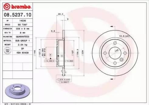Brembo 08.5237.10 - Bremžu diski interparts.lv