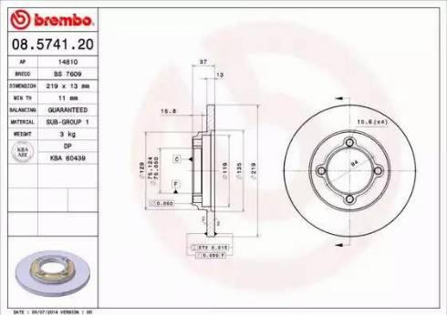 Brembo 08.5741.20 - Bremžu diski interparts.lv