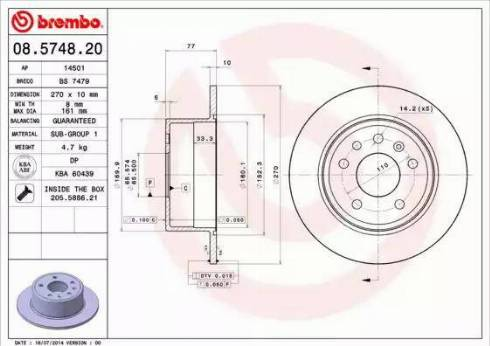 Brembo 08.5748.20 - Bremžu diski interparts.lv