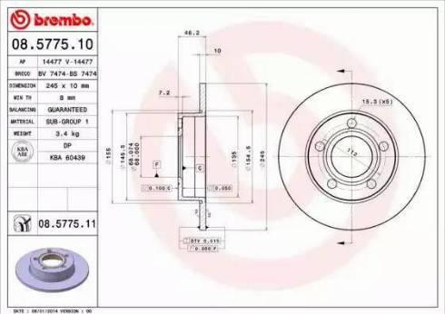 Brembo 08.5775.11 - Bremžu diski interparts.lv