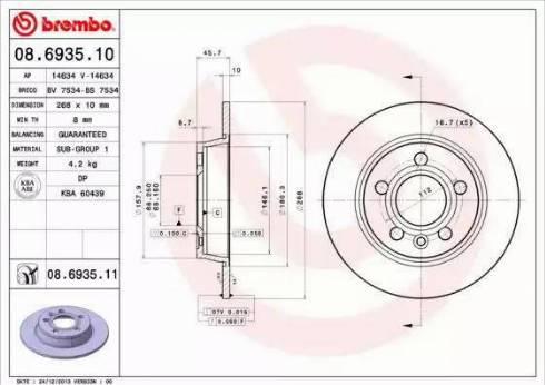 Brembo 08.6935.11 - Bremžu diski interparts.lv