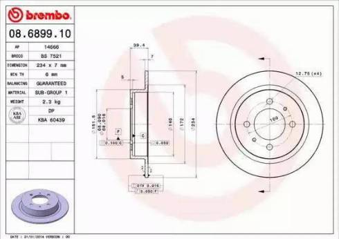 Brembo 08.6899.10 - Bremžu diski interparts.lv