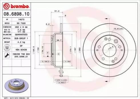 Brembo 08.6898.10 - Bremžu diski interparts.lv