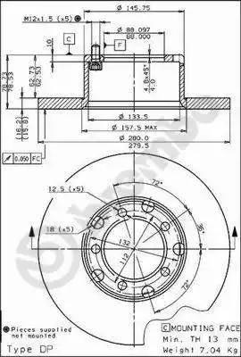 Brembo 08.3959.20 - Bremžu diski interparts.lv