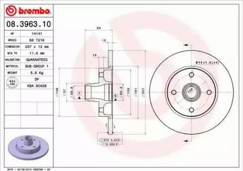Brembo 08.3963.10 - Bremžu diski interparts.lv