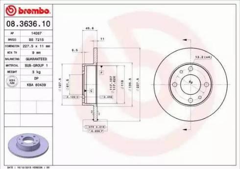 Brembo 08.3636.10 - Bremžu diski interparts.lv