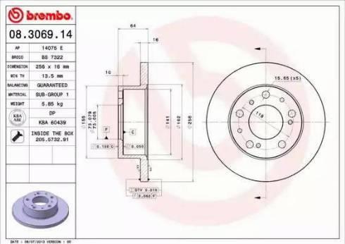 Brembo 08.3069.14 - Bremžu diski interparts.lv