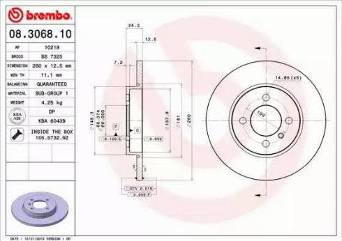 Brembo 08.3068.10 - Bremžu diski interparts.lv