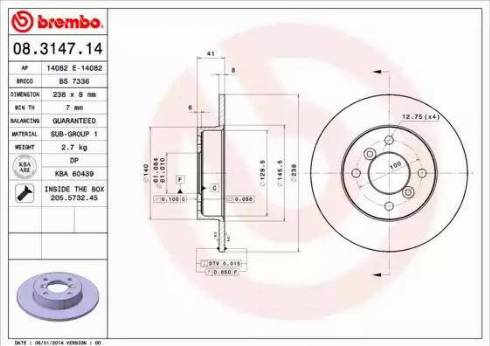 Brembo 08.3147.14 - Bremžu diski interparts.lv