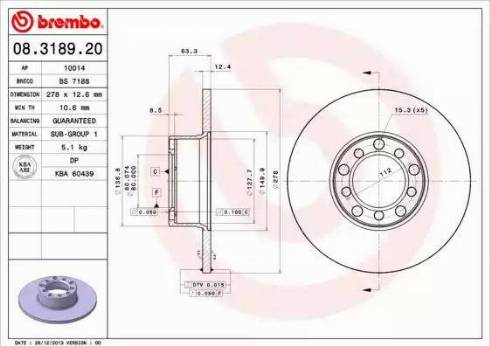 Brembo 08.3189.20 - Bremžu diski interparts.lv