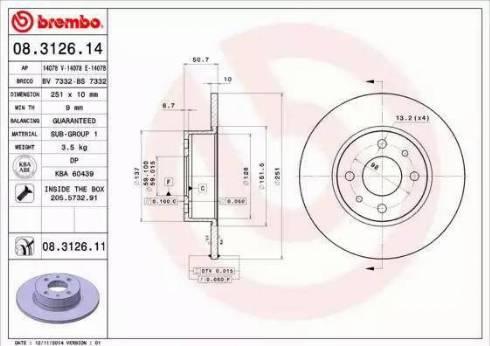 Brembo 08.3126.11 - Bremžu diski interparts.lv