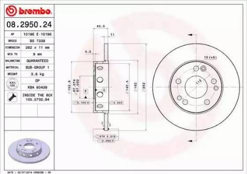 Brembo 08.2950.24 - Bremžu diski interparts.lv