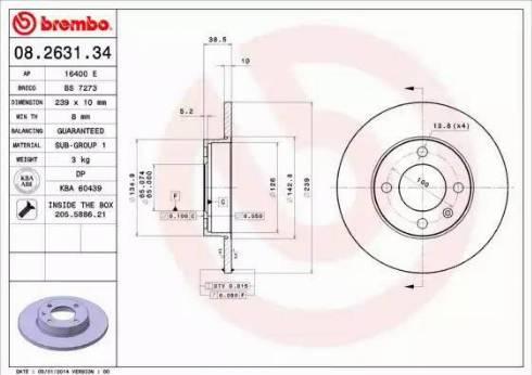 Brembo 08.2631.34 - Bremžu diski interparts.lv