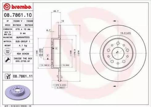 Brembo 08.7861.11 - Bremžu diski interparts.lv