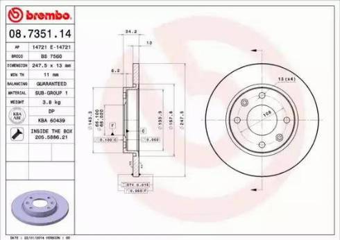 Brembo 08.7351.14 - Bremžu diski interparts.lv
