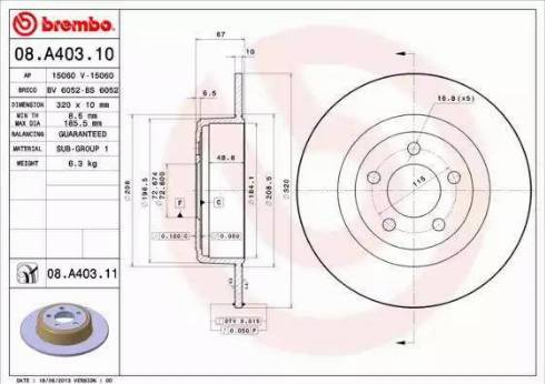 Brembo 08.A403.11 - Bremžu diski interparts.lv