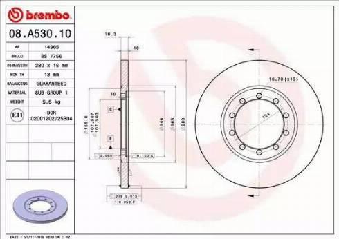 Brembo 08.A530.10 - Bremžu diski interparts.lv