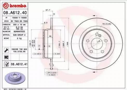 Brembo 08.A612.41 - Bremžu diski interparts.lv