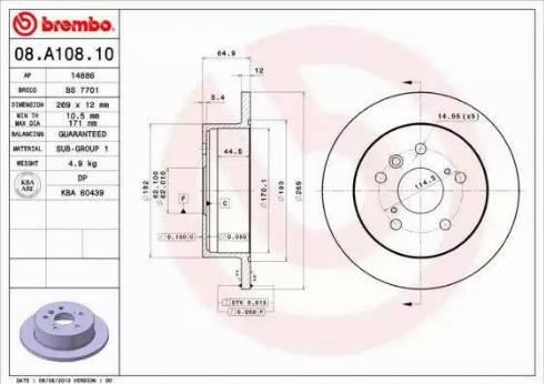 Brembo 08.A108.10 - Bremžu diski interparts.lv