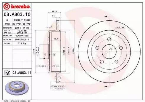 Brembo 08.A863.11 - Bremžu diski interparts.lv